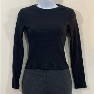 Divided H&M cropped ribbed long sleeve top